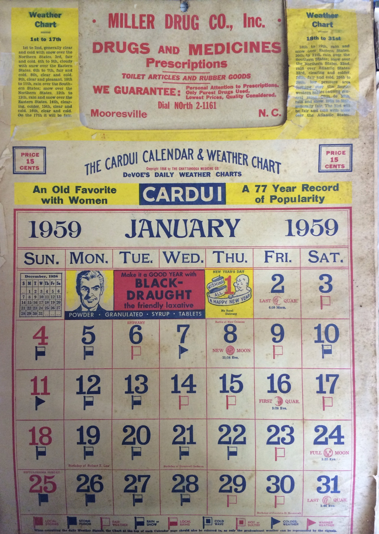 1959 Calendar.Calendars From The Past The Mooresville Museum